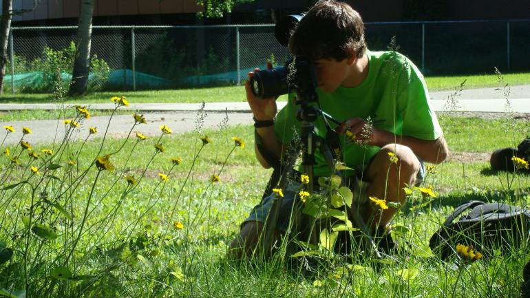 Career Samplers participant taking picture of yellow flowers