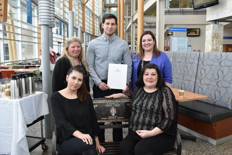 photo Back row - Cathy Sawicki (TBRHSC Cafeteria Catering Supervisor), Lance Crupi (son), Alyssa Veneruzzo (Confederation College Advancement Officer) Front row - Marina Crupi (wife) and Sabrina Crupi (daughter)