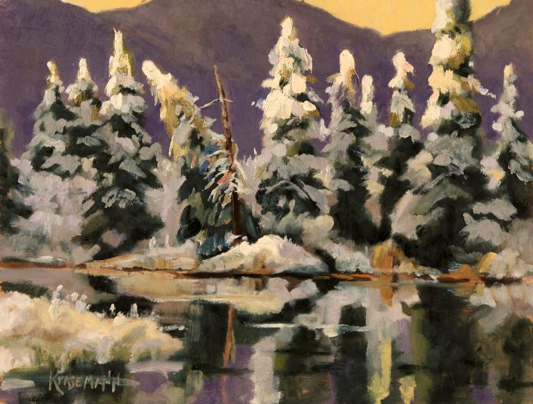 Snow covered trees oil painting by Stephen Krasemann