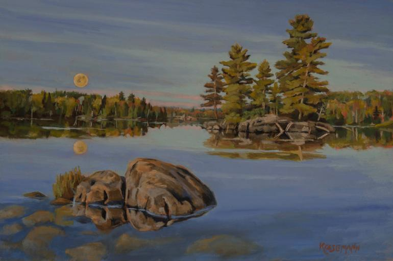 Oil Painting by Stephen Krasemann moon over water