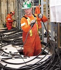 photo of pulling cables