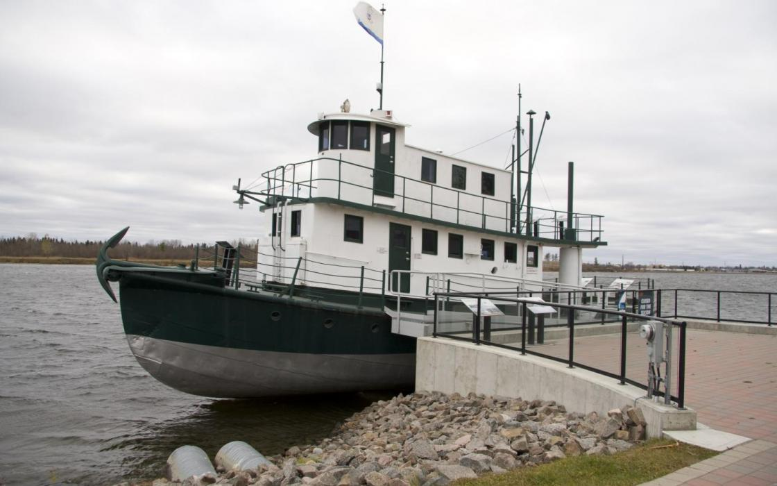Tugboat tied up at the dock in Fort Frances