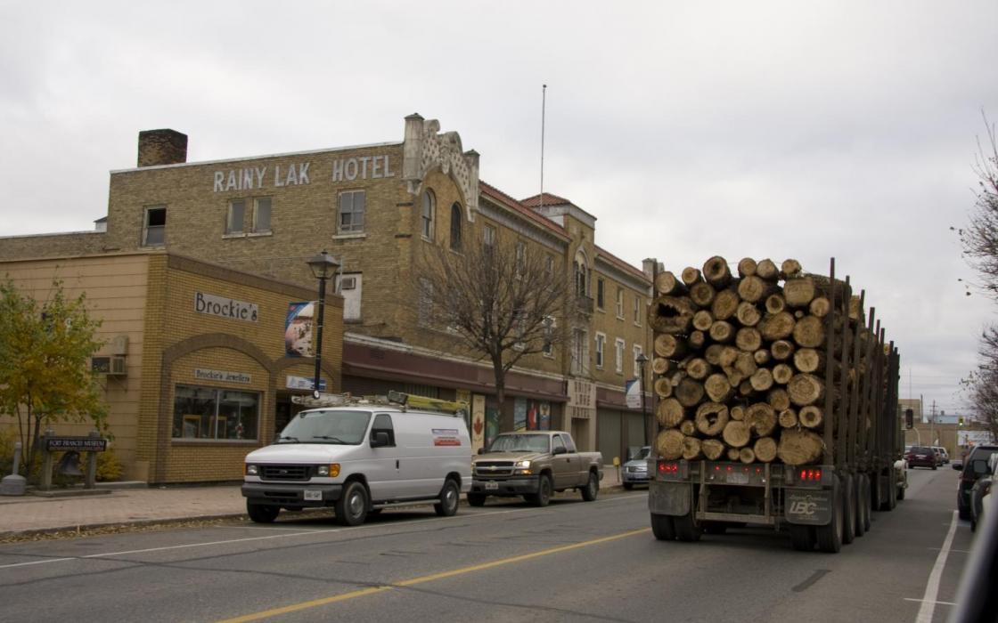 Loggin truck in down town Fort Frances