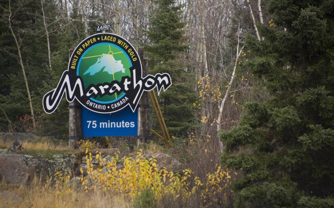 Marathon Road Sign