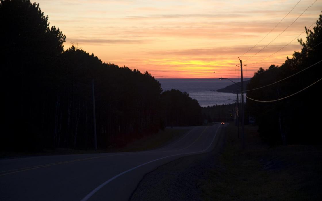 Sunset driving down into Marathon