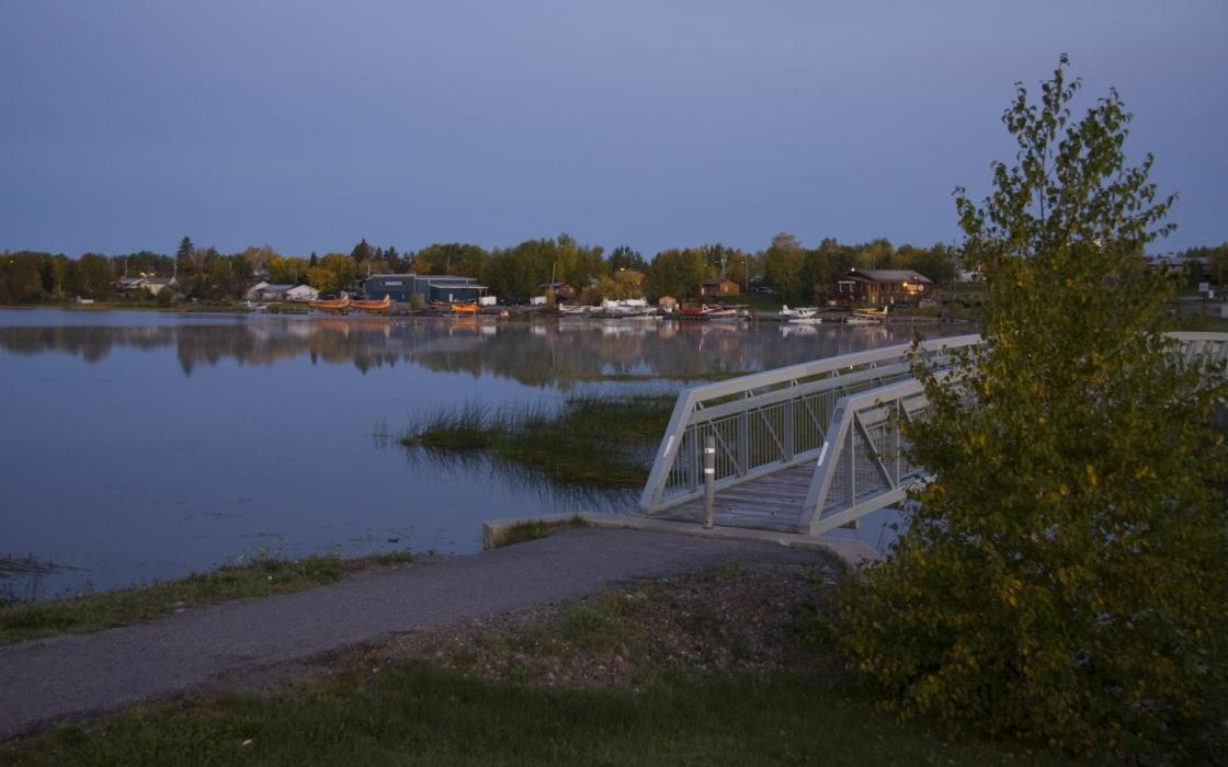 Early morning by footbridge in Sioux Lookout