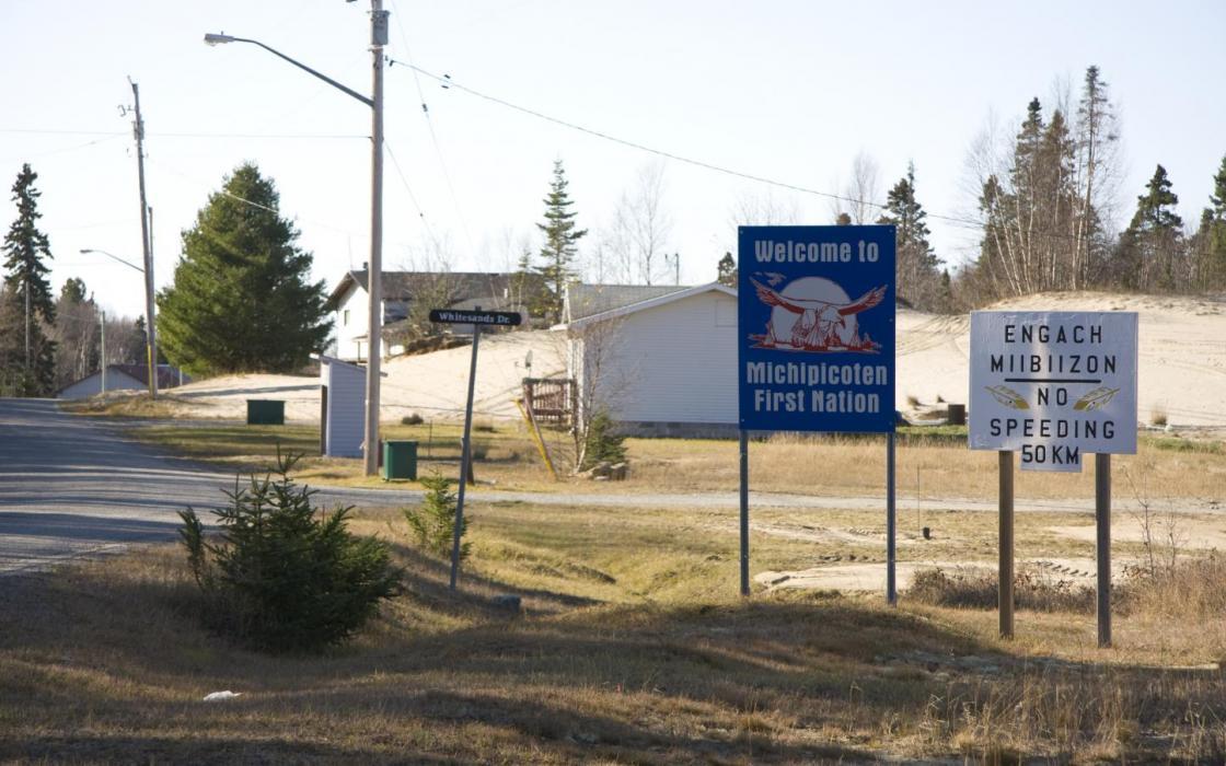 Entrance to Michipicoten First Nation sign