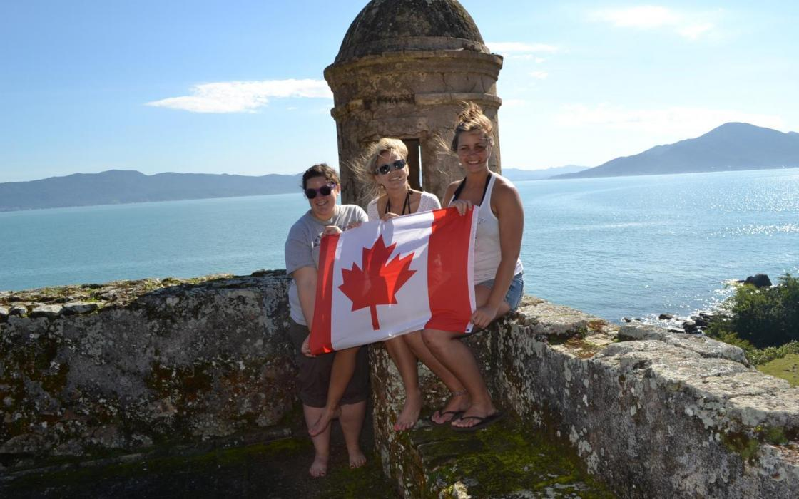Heather Johnson and fellow travellers off the coast of Florianopolis, Brazil