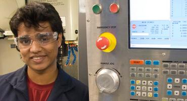 International student in our Aerospace Manufacturing lab