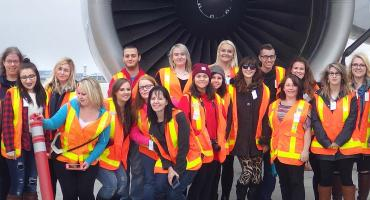 Tourism Travel and Eco Adventure on the airport tarmack