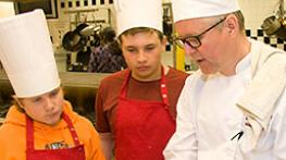 Culinary Chef Shane Warwick with students from Kingsway Park School