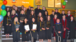 Graduates from Rainy River Campus pose with faculty and staff of Confederation College