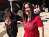 Student Ashley Nurmela leads Stand Up Against Racism silent walk
