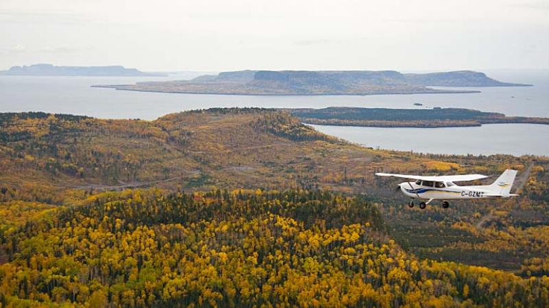 aerial photo - Pie Island and Sleeping Giant in Lake Superior, fall colours
