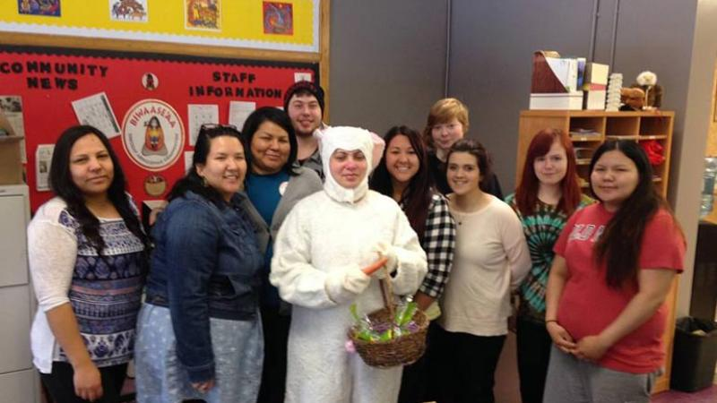 Easter bunny at a school