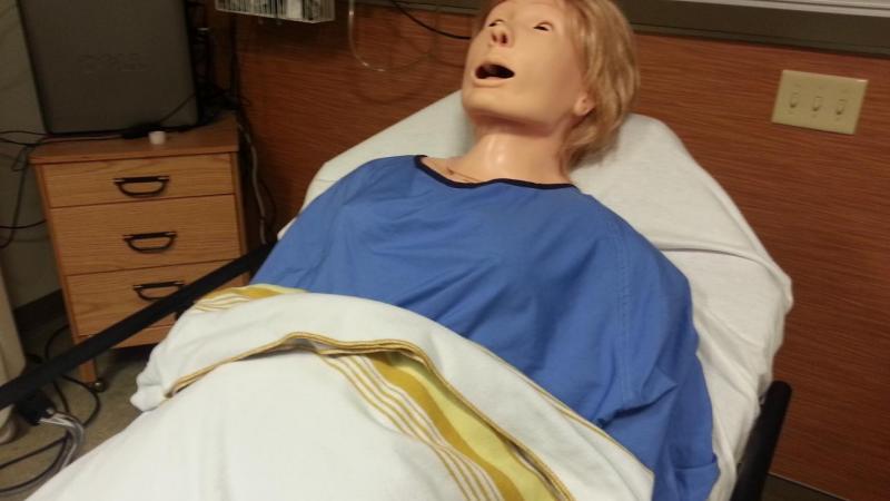 Nursing lab realistic, hi-tech birthing mother manikin
